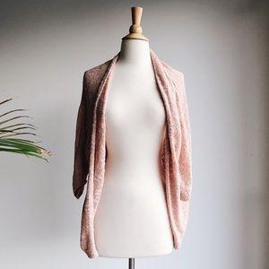 Blush Loose Weave Dolman Cardi, Size M